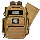 Diaper Bag Backpack by Sager Creek + Adventure Diaper Bag with Changing Pad + Daddy Diaper Bag for Men and Woman + Hiking Diaper Bag + Dad Diaper Bag + Unisex Diaper Bag + Baby Care (Brown)