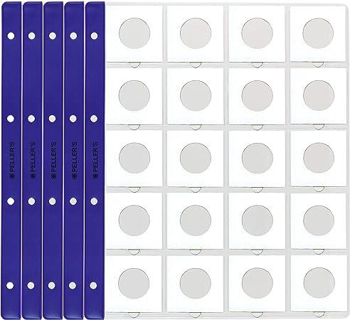 PELLERS 10 Hojas de colección, 50mm X 50mm En Cada Página, Monedas. Fundas para Álbum, Extra Transparente, Modelo XL: 20 Departamentos para cartones: Amazon.es: Hogar