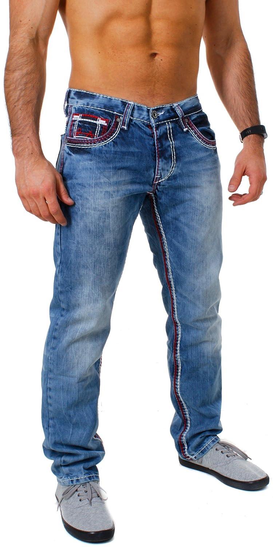 TALLA 31W. Amica Hombre Denim–Pantalones Vaqueros Straight Leg Recto Ajuste Vintage con Costuras en Contraste
