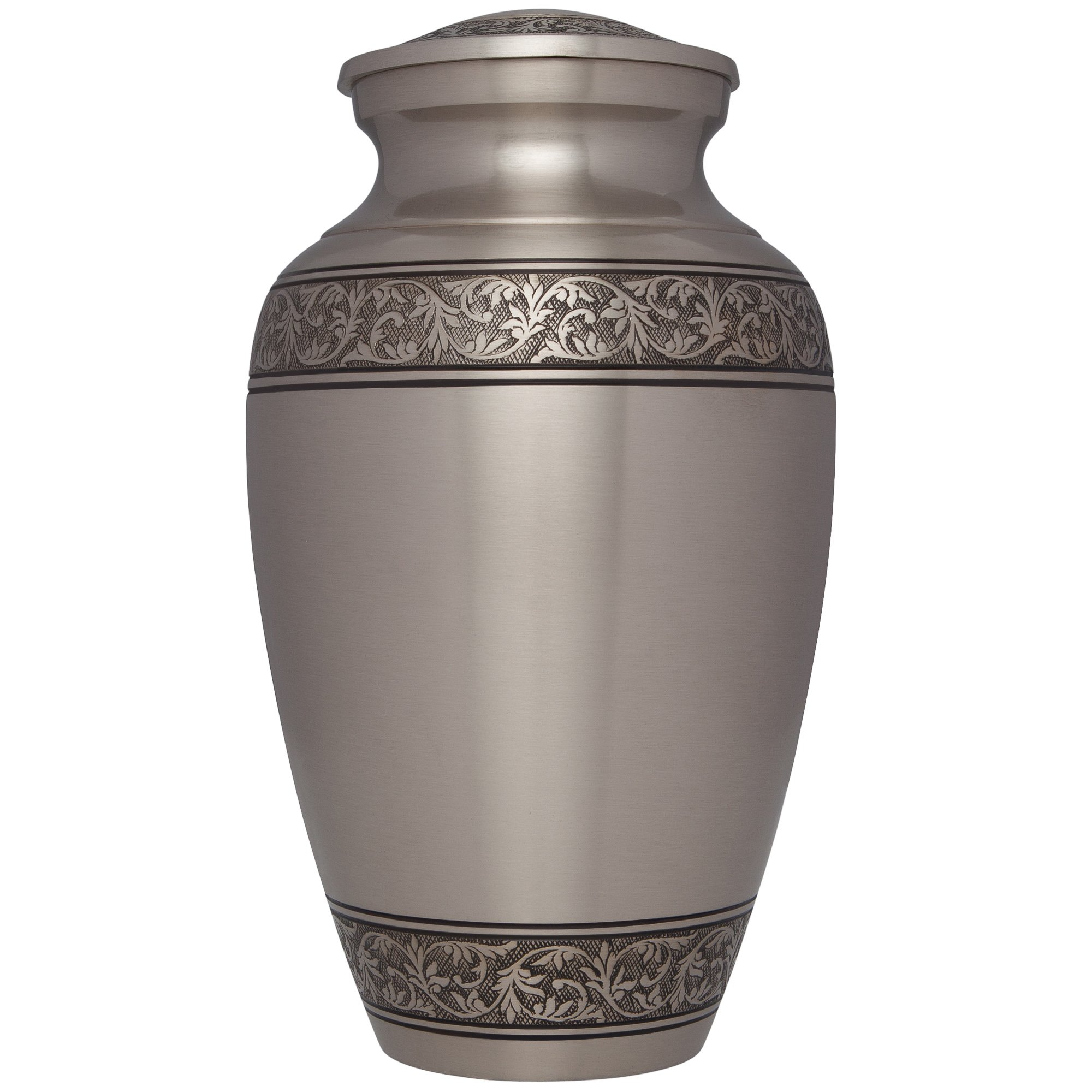 Silver Funeral Urn by Liliane Memorials - Cremation Urn for Human Ashes - Hand Made in Brass -Suitable for Cemetery Burial or Niche - Large Size fits remains of Adults up to 200 lbs- Treviso Silver L