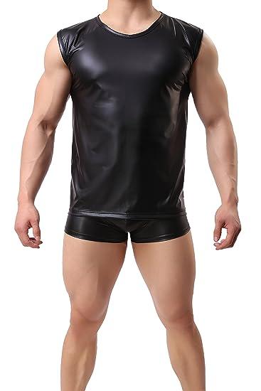 18c084d0 Amazon.com: ONEFIT Men's Faux Leather Tank Top Silm Sport Vest Sleeveless  Shirts: Clothing