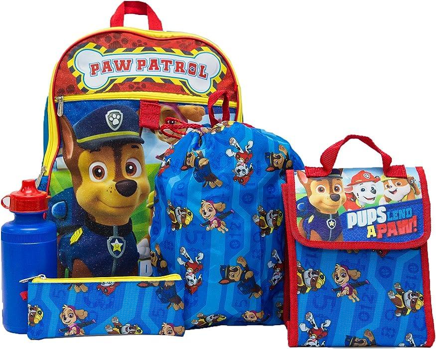 PAW Patrol Boys 5 Pc Set Backpack, Blue, One Size
