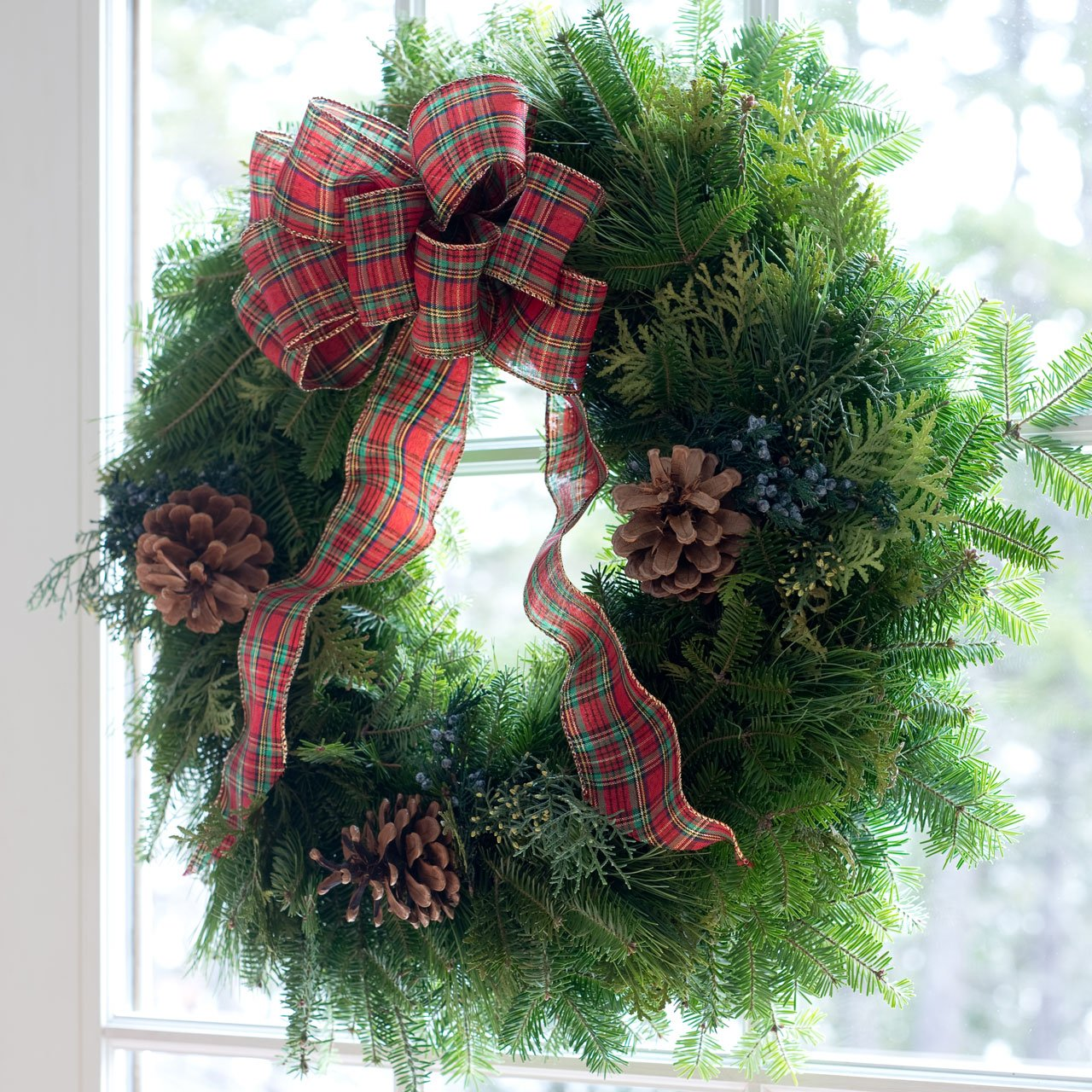 Fresh Christmas Wreath Front Door | Country Plaid Tartan Bow | Enjoy Scent of Real Balsam Pine ~ Evergreens Lasts All Season Outdoor ~ Arrives in a Beautiful Red Gift Box | Perfect Present for Xmas