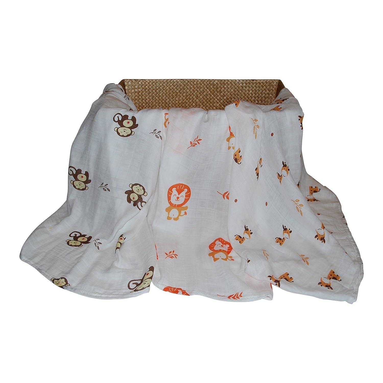 Animal Bamboo Infant Swaddle Blankets- Safari Friends -Monkey, Lion, Giraffe - Large Muslin...