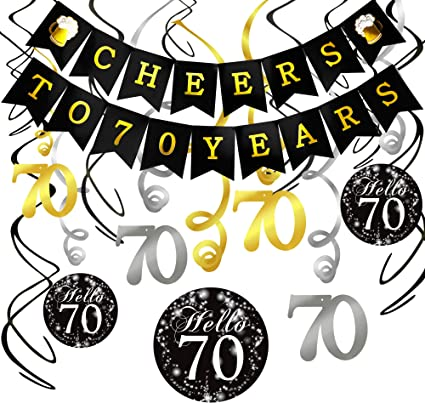 70th Birthday Decorations Kit- Konsait Cheers to 70 Years Banner Swallowtail Bunting Garland Sparkling Celebration 70 Hanging Swirls,Perfect 70 Years ...