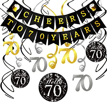 Black and Gold Latex Balloon and Cheers To 70 Years Banner for 70th Birthday Decorations for Women Men 70th Birthday Party Supplies Howaf 70th Birthday Party Decorations