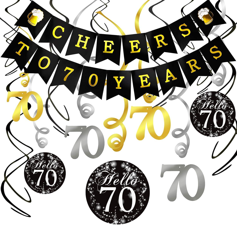 Konsait Kit Decorazione Festa di Compleanno di 70 Anni, Striscione Cheers to 70 Years Compleanno Bandierine festone decorazioni pendenti, 70 anni compleanno party Kit per donna uomo