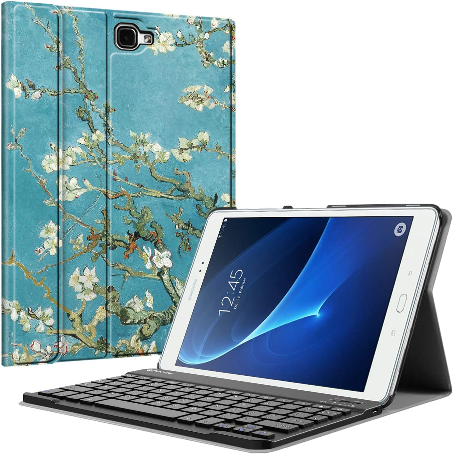 Fintie Keyboard Case for Samsung Galaxy Tab A 10.1(2016 NO S Pen Version),Slim Lightweight Stand Cover w/Magnetically Detachable Wireless Bluetooth Keyboard, Blossom