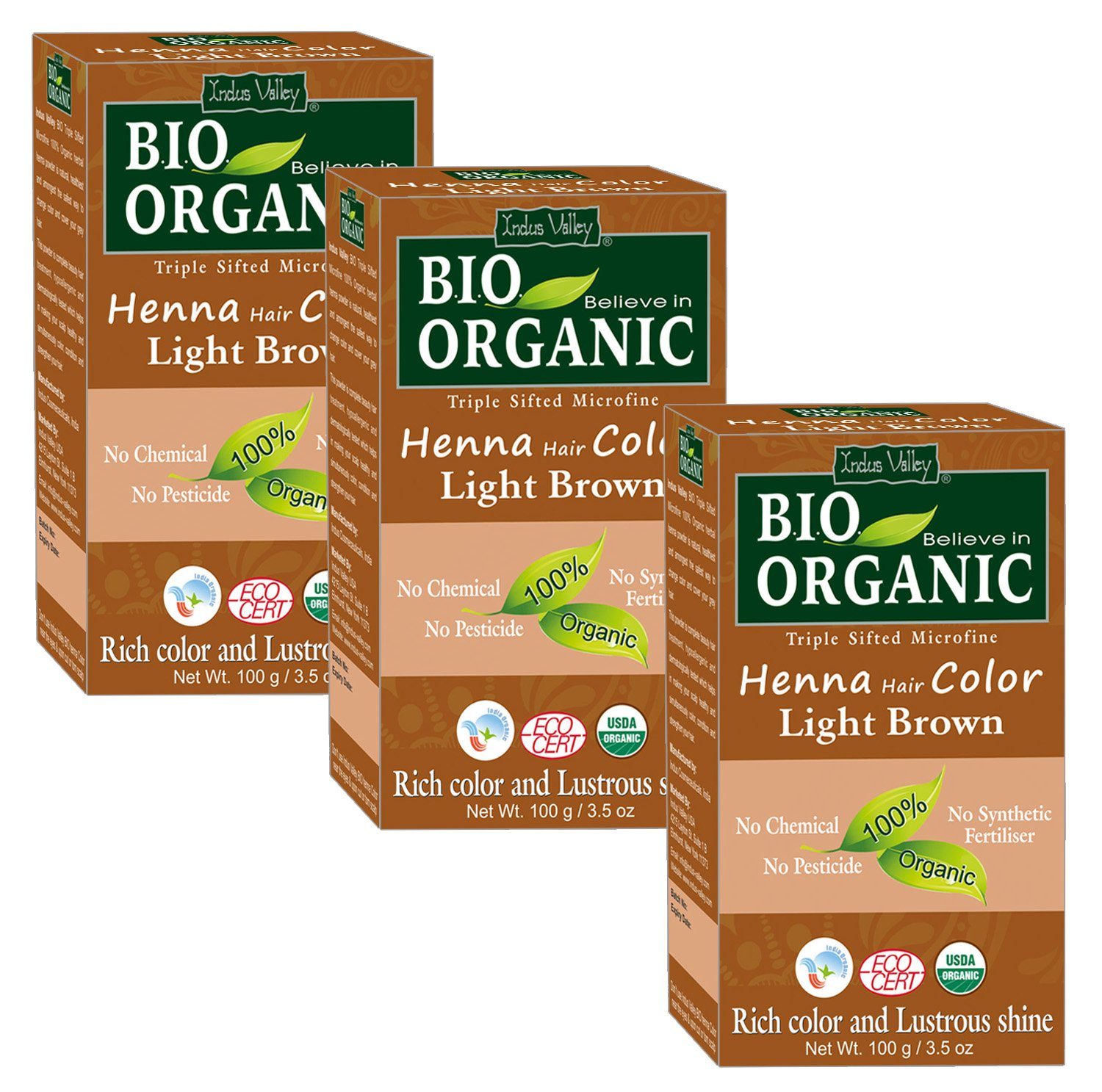 Indus Valley Bio Organic Henna Hair Dye Colour For Grey Hair(Colourless)- Set of 3 (300 gm) Microfine Triple Shifted Henna With No Chemical, No Synthetic Fertiliser, No Pesticide Indus Cosmeceuticals