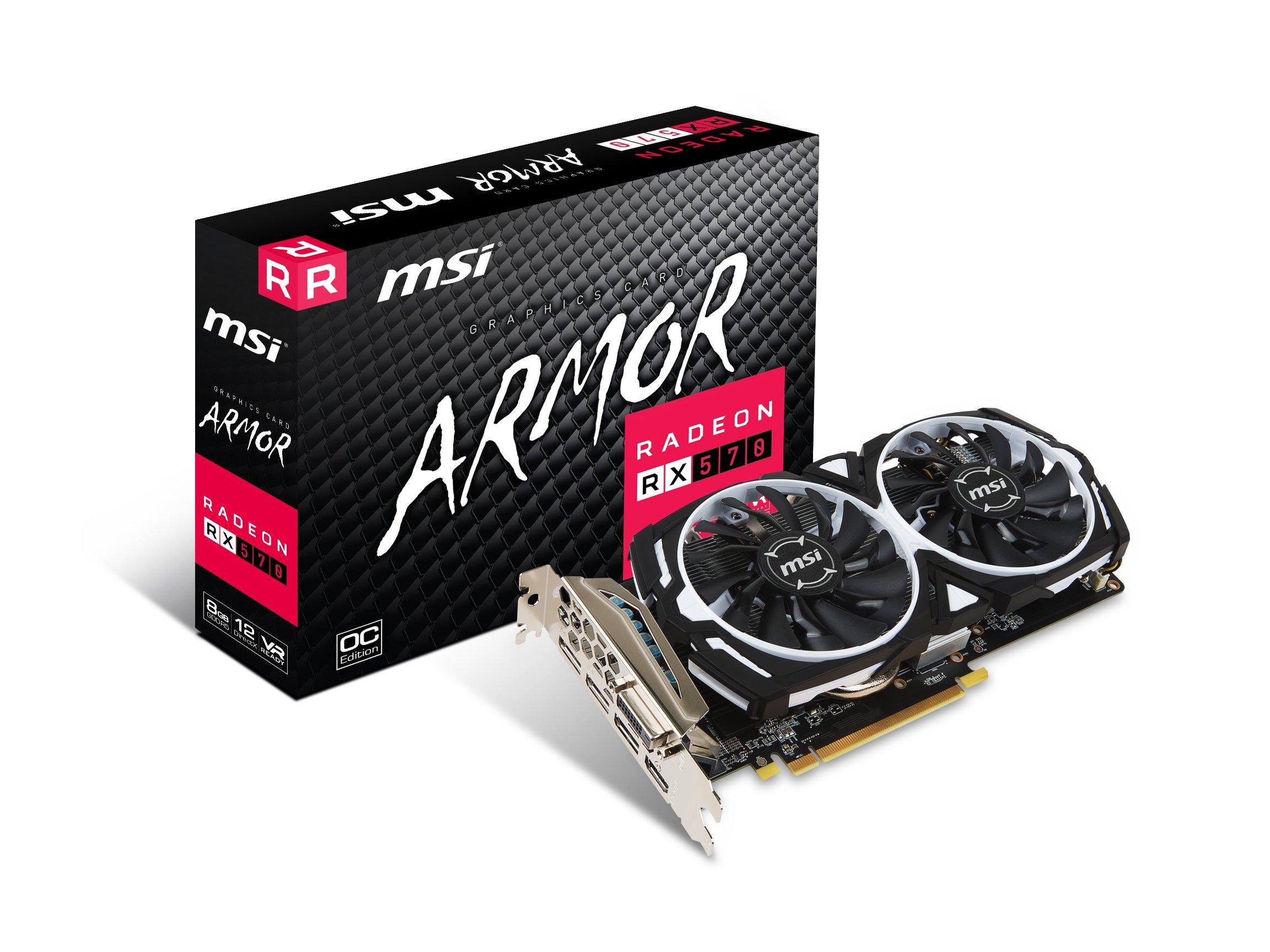 MSI GAMING Radeon RX 570 8GB GDDR5 256-Bit DirectX 12 Graphics Card (RX 570 ARMOR 8G OC)