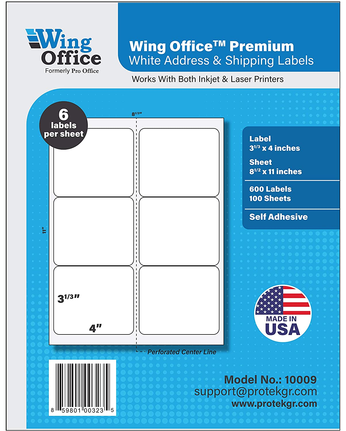 Pro Office Premium 600 Self Adhesive Shipping Labels for Laser Printers and Ink Jet Printers, White, Made in USA, 3.33 x 4 Inches, Pack of 600