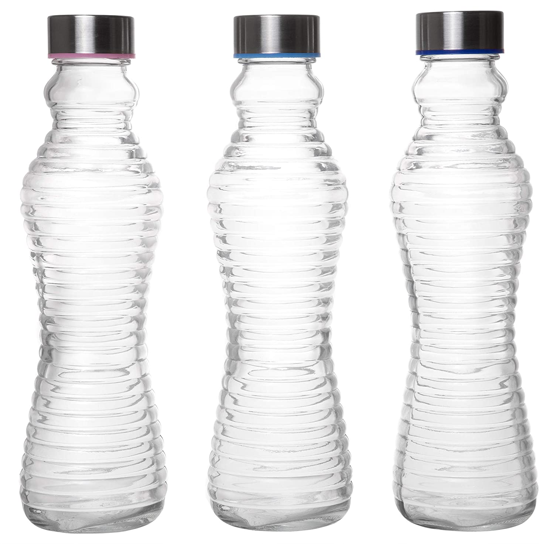 Amazon.com: Botellas de vidrio reutilizables con tapa de ...