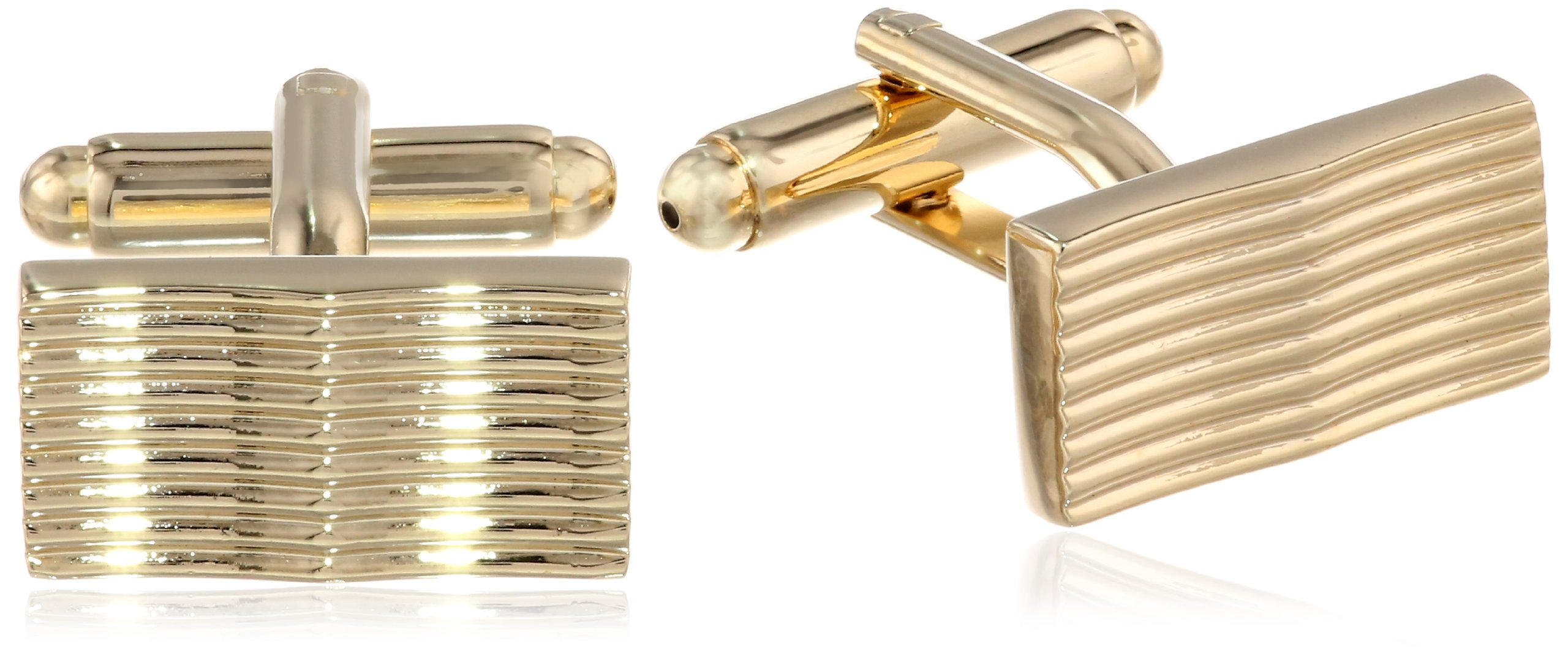 Stacy Adams Men's Cuff Link and Tie Bar With Ridges Set, Gold, One Size