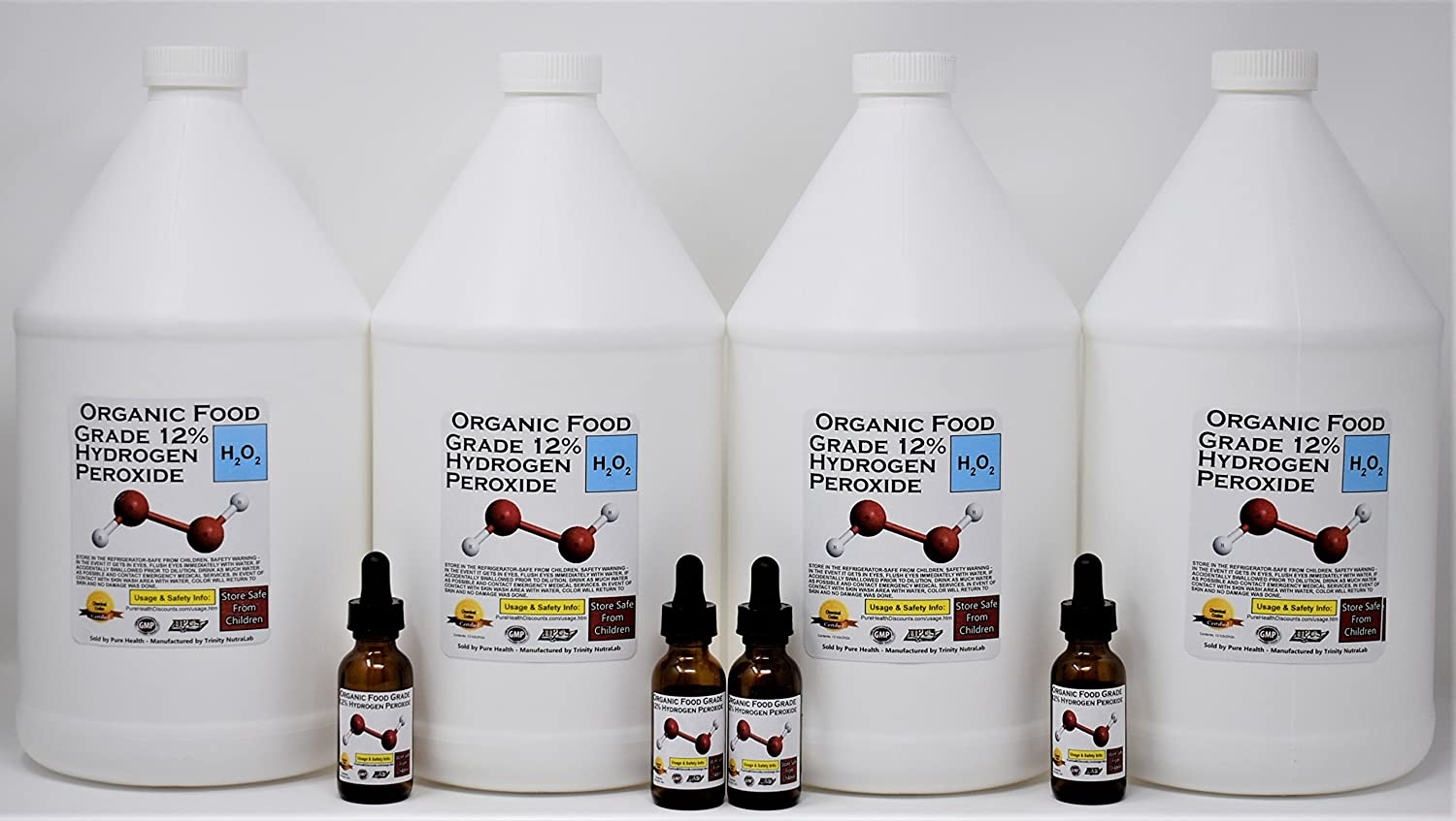4 Gallons Organic TNL 12% Certified Food Grade Hydrogen Peroxide + 4 Pre-filled Dropper Bottles. Recommended by One Minute Cure & True Power of Hydrogen Peroxide. Shipped Fast. MADE IS USA