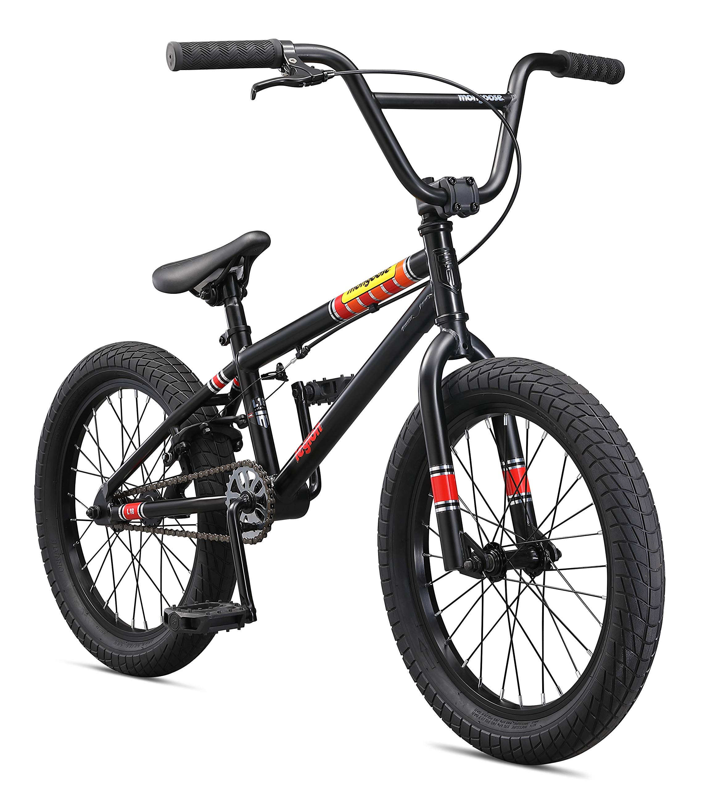 Mongoose Legion L18 Freestyle BMX Bike for Kids, Featuring Hi-Ten Steel Frame and Micro Drive 25x9T BMX Gearing with 18-Inch Wheels, Black