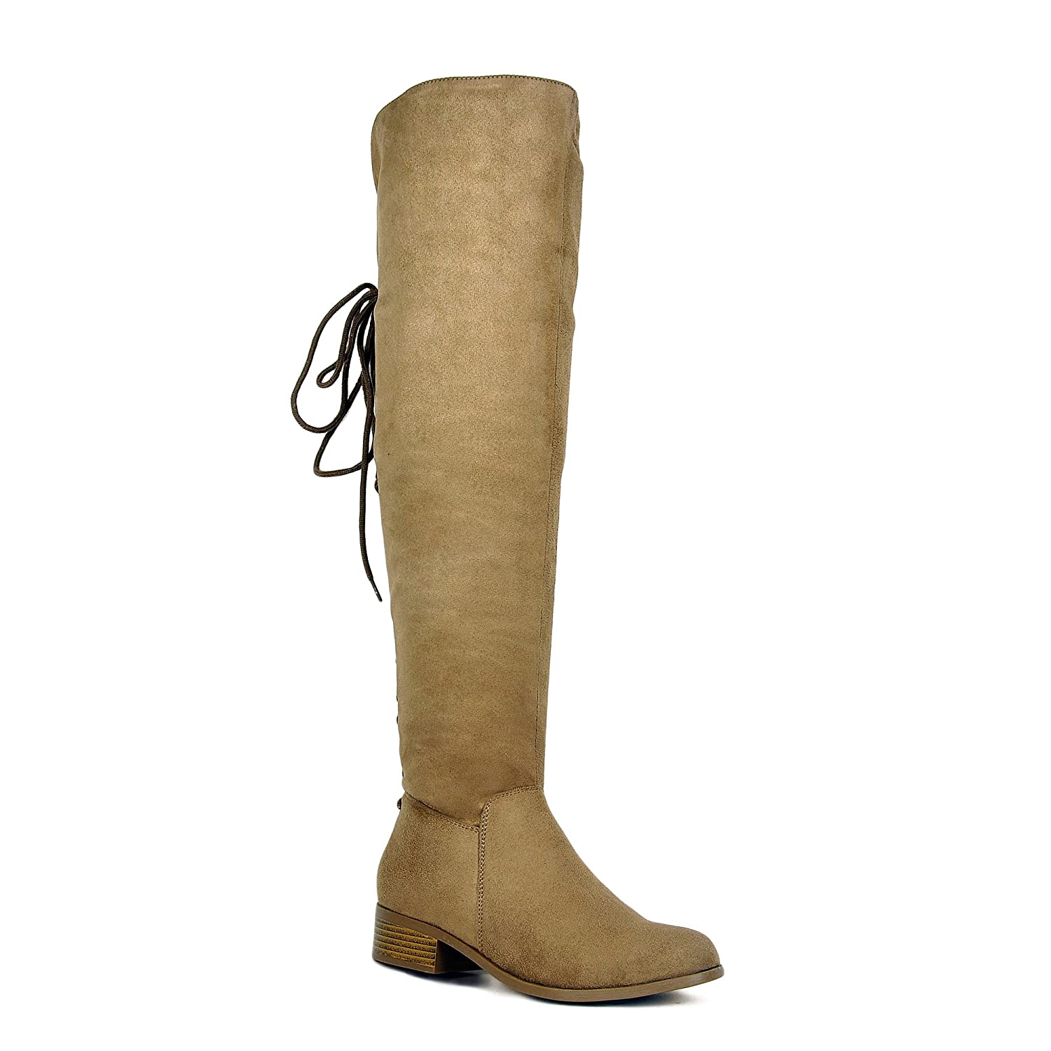Women's Taupe Faux Suede OTK Back Corset Lace-up Fold Over Cuff Flat Heel Boots - DeluxeAdultCostumes.com