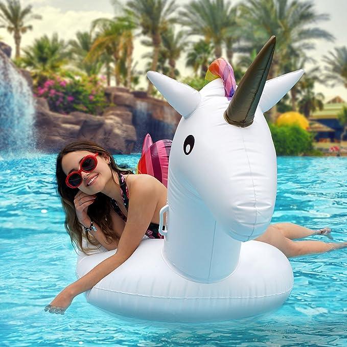Flotador Unicornio Hinchable Grande, 200x100x90cm - Colchoneta Inflable Unicornio Juguetes para la Piscina Playa Verano para Niños y Adultos
