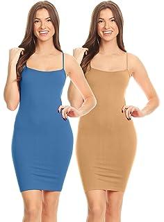 9a432c5ff4c Simlu Women s Basic Seamless Camisole Slip Dress - Long Spaghetti Strap Cami