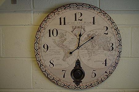 Oversized pendulum world map wooden wall clock ex large 58 cm oversized pendulum world map wooden wall clock ex large 58 cm gumiabroncs Images