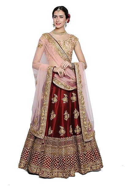 952ff09580 Jenish Enterprise Women's Satin Embroidered Lehenga Choli (Maroon, Free  Size): Amazon.in: Clothing & Accessories