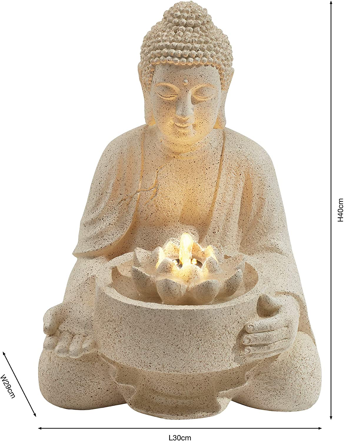 Serenity Serene Buddha Water Feature Light Up Led Lotus Fountain Weatherproof Self Contained Ornament For Garden Decking Patio Decoration Height 40cm Amazon Co Uk Garden Outdoors