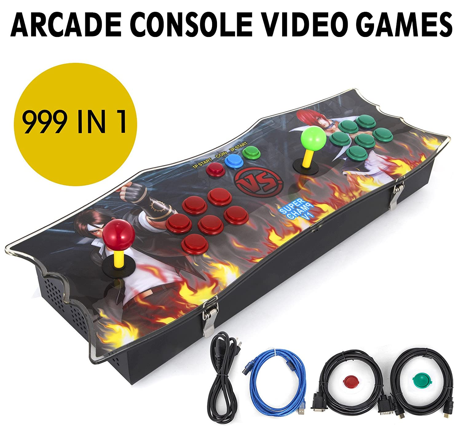 Happybuy Arcade Game Console 1280P Games 1500 in 1 Pandoras Box 2 Players Arcade Machine with Arcade Joystick Support Expand Games for PC / Laptop / ...