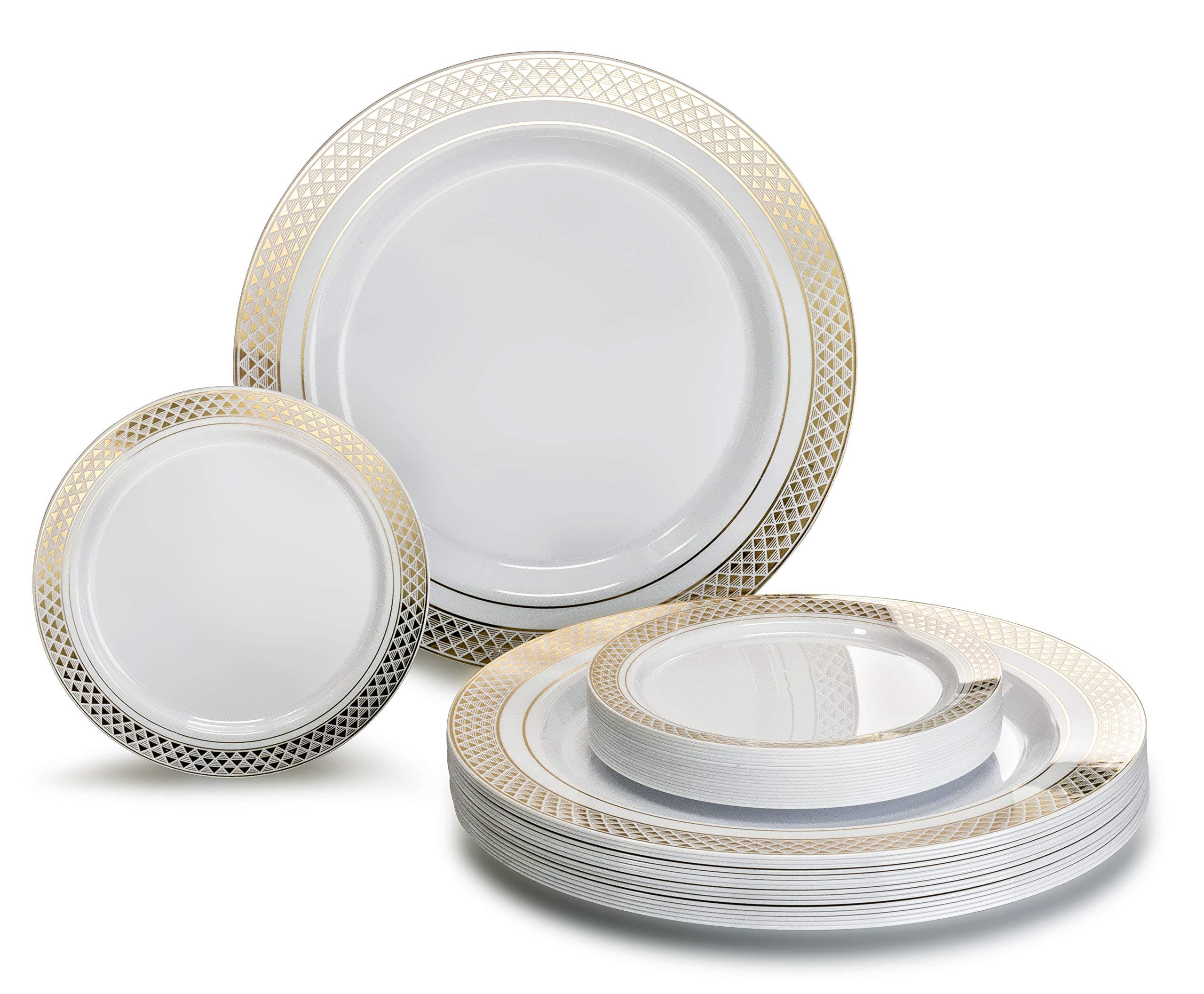 ''OCCASIONS'' 240 Pack, Premium Disposable Plastic plates, 120 x 10.5'' Dinner + 120 x 6'' Cake plates (Celebration White/Gold)