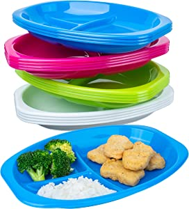 Pack of 12 - Divided Plastic Kids Plates - Toddler Plates with Dividers - Kids Plates Dishwasher and Microwave Safe - BPA Free Kid Plates - Lunch Trays for Baby Feeding - 4 Vibrant Colors
