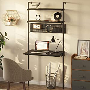 Rolanstar Computer Desk with Storage Shelves, Wall Mounted Home Office Floating Writing Desk, Laptop Study Table Workstation,Retro Industrial Style, Stable Metal Framee, Black