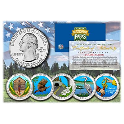 2015 America The Beautiful COLORIZED Quarters U.S. Parks 5-Coin Set w/Capsules: Everything Else