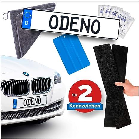 Odeno Original Klett Kennzeichenhalter Set Rahmenlos Selbstklebend Nummernschildhalterung Für Jedes Auto Extrem Starker Und Wetterfester Kleber Und Klettverschluss Auto