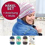 myboshi Mützen Häkelset Sommer Beanie Iga (85% Baumwolle 15% Kapok) Anleitung + Häkelgarn + selfmade Label Farben (meerblau, titangrau, blaubeere, ohne Häkelnadel)