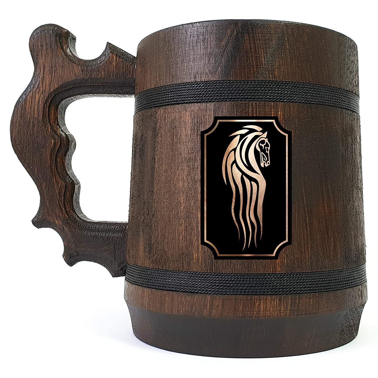 Rohan Mug Personalized Gift For Him LOTR Gift Lord of the Rings Beer Tankard Wooden Beer Mug Wooden Stein Gift for Husband Fathers Day Gift