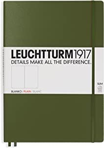 LEUCHTTURM1917 - Master Slim A4+ - Plain Hardcover Notebook (Army) - 123 Numbered Pages