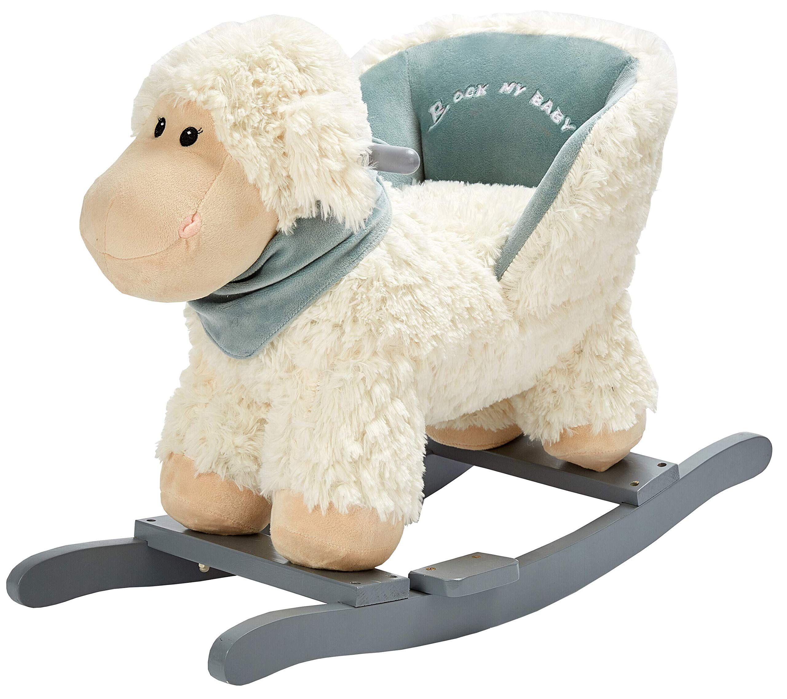 Rock My Baby White Lamb with Chair,Plush Stuffed Animal Rocker,Wooden Rocking Toy Lamb/Baby Rocker/Animal Ride on,Home Decor,for Girls,Indoor&Outdoor (White Lamb)