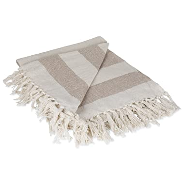 DII Rustic Farmhouse Cotton Cabana Striped Blanket Throw with Fringe For Chair, Couch, Picnic, Camping, Beach, & Everyday Use, 50 x 60  - Cabana Striped Stone