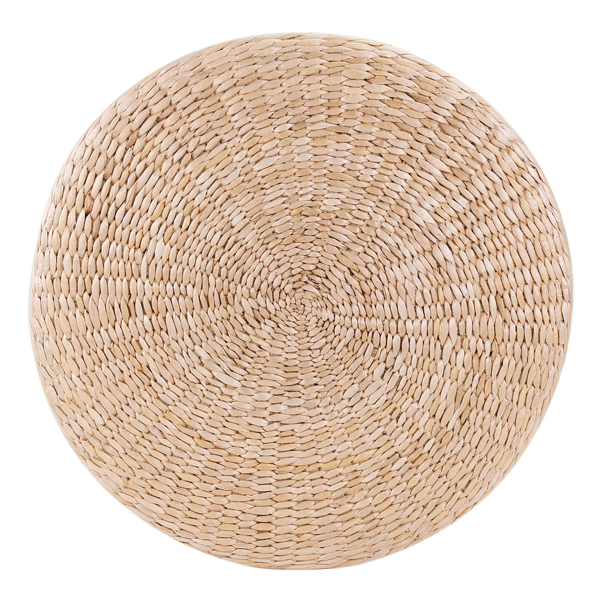 KINGSO Handcrafted Straw Round Pouf Tatami Cushion Floor Cushions Natural Straw Meditation Yoga Mat Chair Seat Cushion (50 x 6cm)