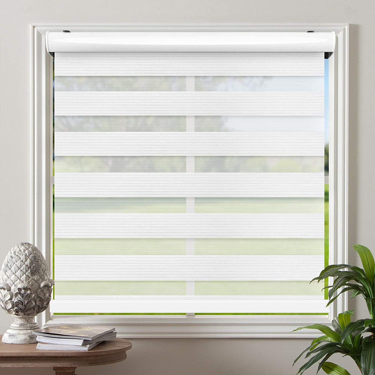 Amazon Com Biltek Cordless Zebra Roller Blinds Sheer Shades Free Stop Combi Blinds Dual Layer Sheer Or Privacy White 50 W X 72 H Home Kitchen