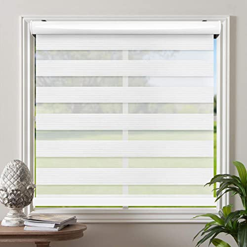 Biltek Cordless Zebra Roller Blinds Sheer Shades/Free-Stop Combi Blind
