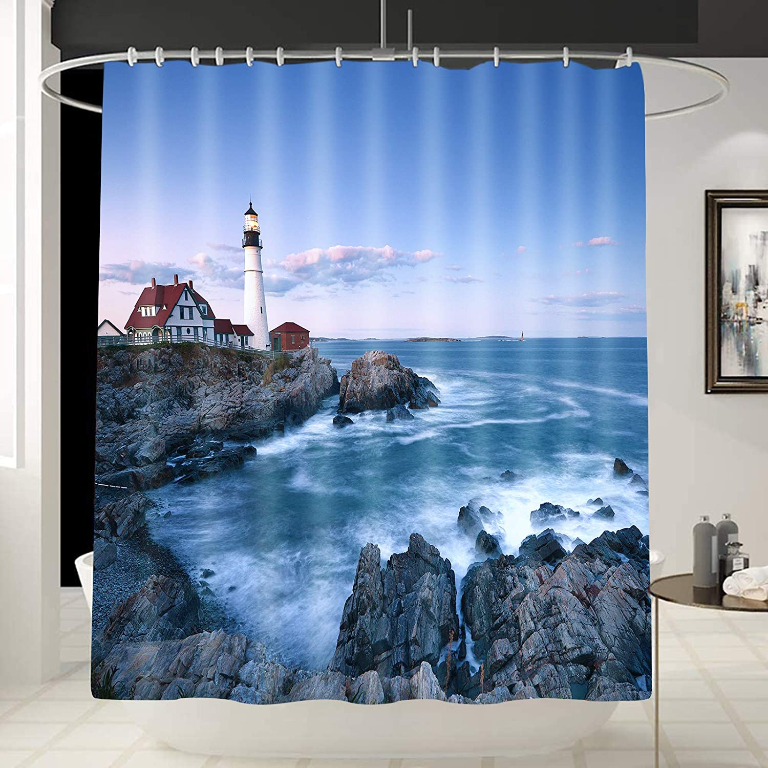 Seascape Wall Decor Portland Head Lighthouse Shower Curtain Liner Paintings Landscape Artwork Tropical Ocean Art Curtain for Bathroom/Washroom with 12 Hooks Waterproof Man/Boy Gift 70 x 70 Inches