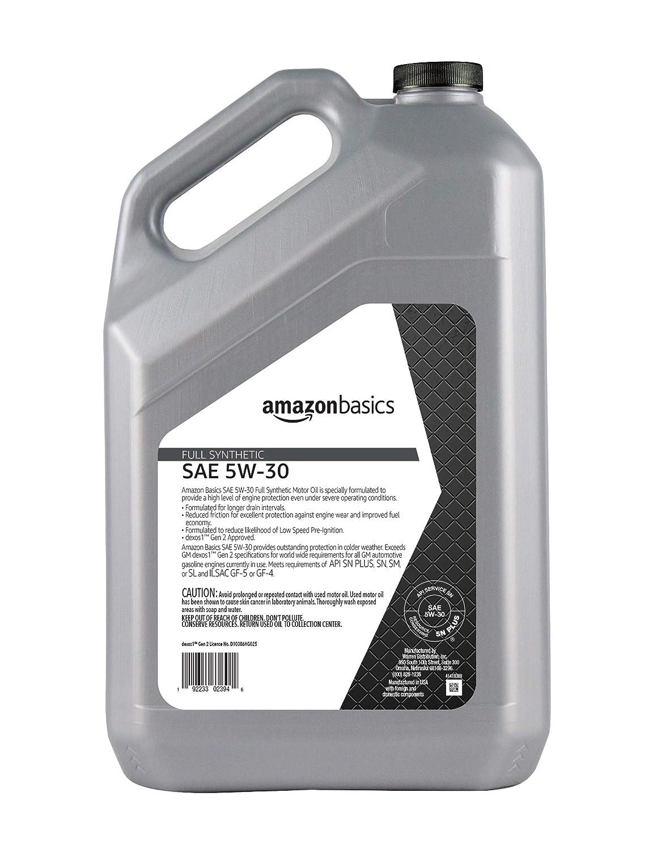 AmazonBasics Full Synthetic Motor Oil, SN Plus, dexos1-Gen2, 5W-30, 5 Quart
