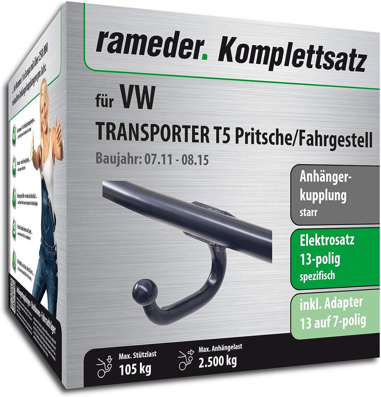 13pol Elektrik f/ür VW Transporter T5 Pritsche//Fahrgestell Rameder Komplettsatz 146750-05003-1 Anh/ängerkupplung starr