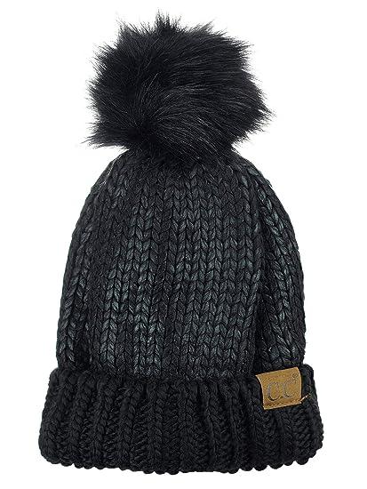 930c0b7aeae C.C Women s Faux Fur Pom Shiny Metallic Finished Knit Beanie Hat-Black Black