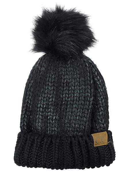 c0925d194ca C.C Women s Faux Fur Pom Shiny Metallic Finished Knit Beanie Hat-Black Black