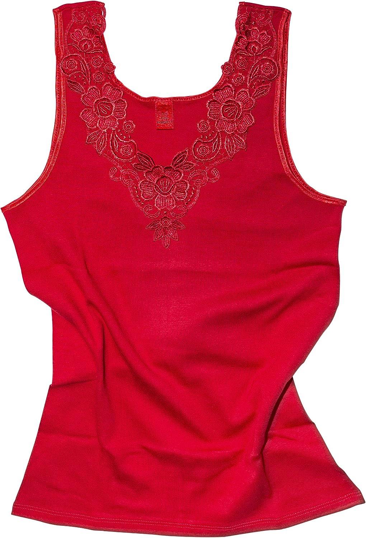sin costuras laterales de algod/ón peinado con encaje extragrande Camiseta para mujer