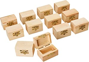 Juvale Unfinished Wood Treasure Chest - 12-Pack Wooden Treasure Boxes with Locking Clasp, Mini Treasure Chest, for Party Favors, DIY Projects, Home Decor, Props, 2.3 x 1.5 x 1.5 Inches
