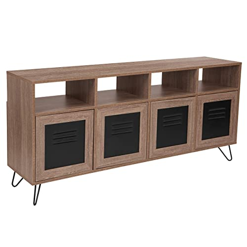 Flash Furniture Woodridge Collection 85.5 W 4 Shelf Storage Console Cabinet with Metal Doors in Rustic Wood Grain Finish