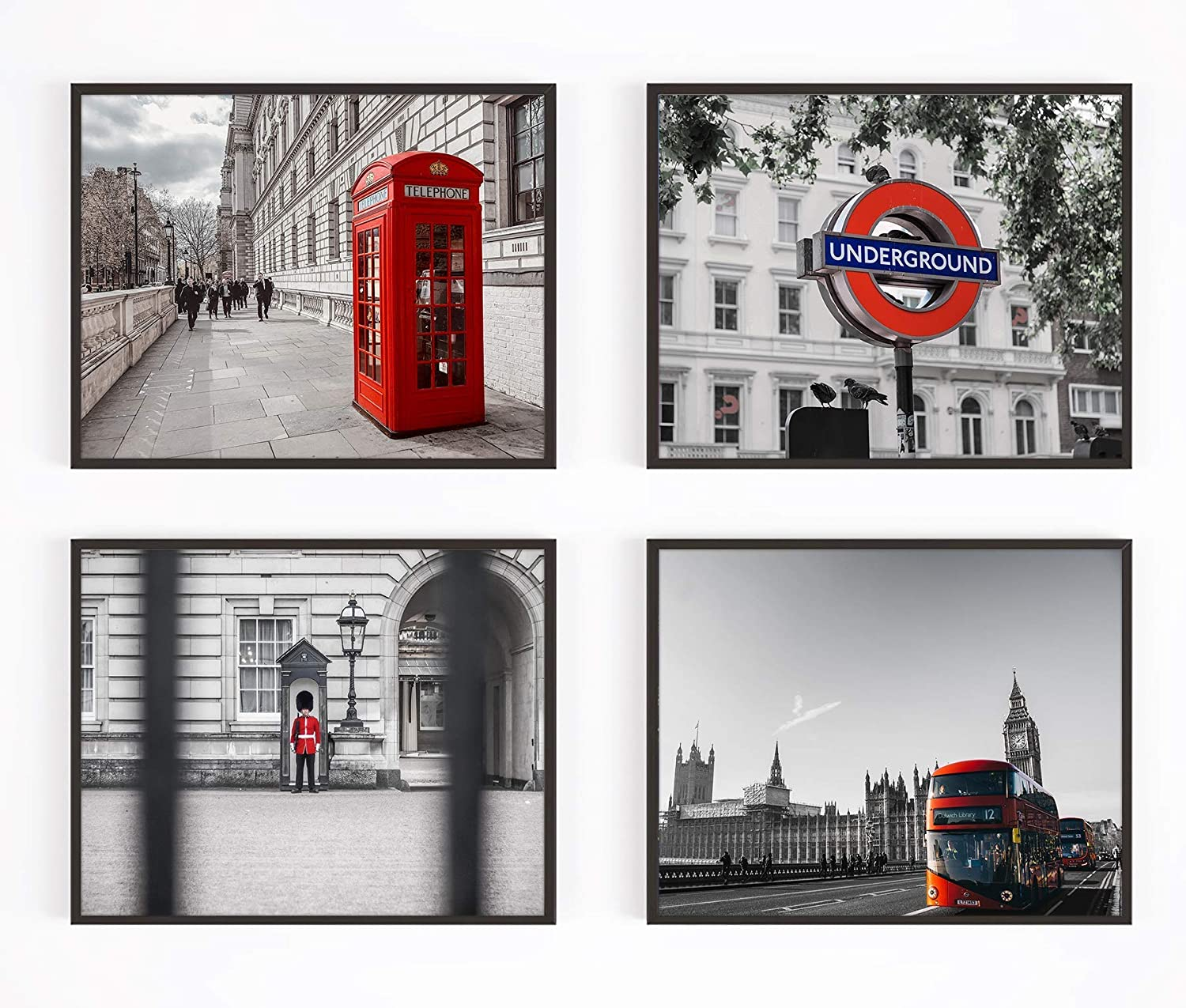 Vintage London England Photography Photographic Prints, Set of 4, Unframed, Red Phone Booth, Guard, Double Decker Bus, Underground Subway Art Decor Poster Sign, 8x10 Inches