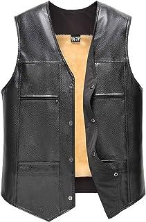 AIEOE Elderly Mens Winter Thick Leather Vest Soft Warm Waistcoat Front Snap Jacket
