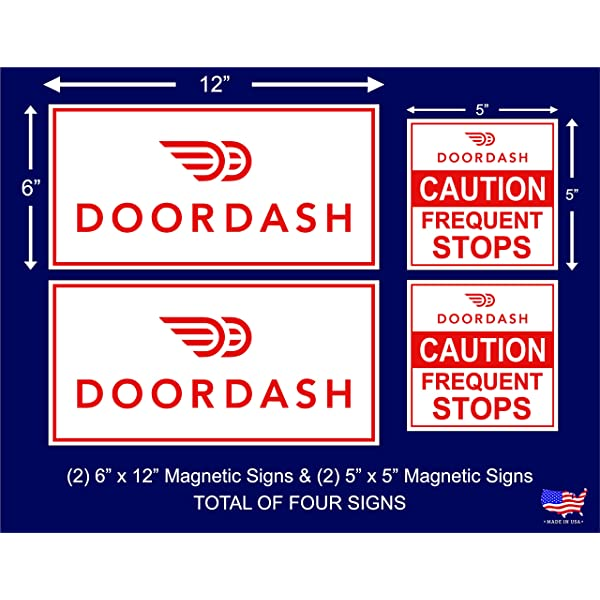 "4 SIGNS UBER EATS UBER DOORDASH POSTMATES Magnetic CAR VEHICLE SIGNS  8/"" x 8/"""